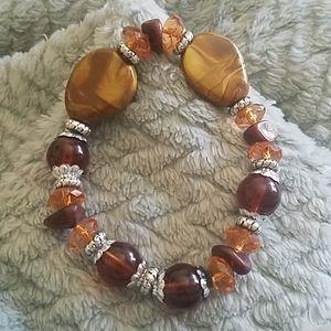 Boho Earth tones beaded stretchy bracelet nwt